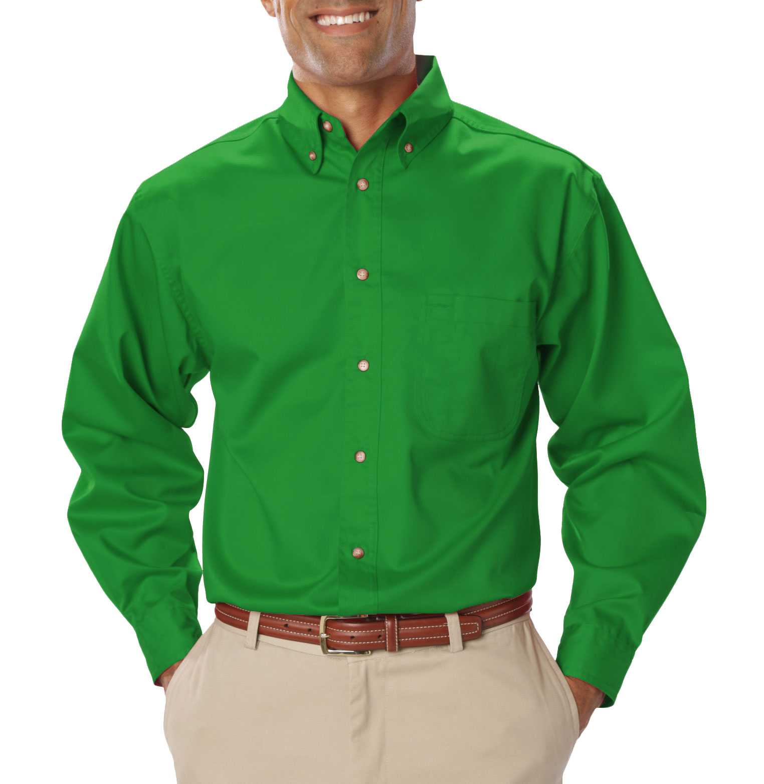 Mens Long Sleeve Teflon Twill Shirt