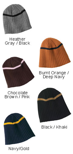 Rib Knit Beanie with Stripe - All Colors