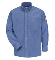 Button Front Denim Dress Uniform Shirt