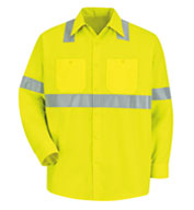 Custom Long-Sleeve Hi-Viz Shirt with Reflective Striping.