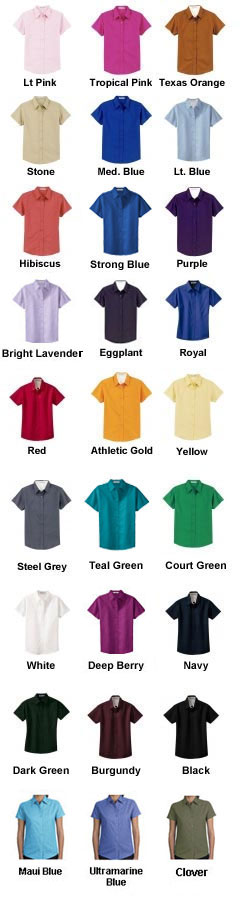 Ladies Easy Care Wrinkle Resistant Short Sleeve Shirt - All Colors