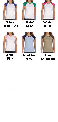 Bella Ladies  1 x 1 Baby Rib Cap Sleeve Contrast Raglan Tee - All Colors