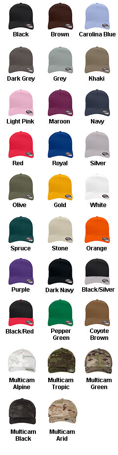 Yupoong Six Panel Low Profile Twill Flex Fit Cap - All Colors