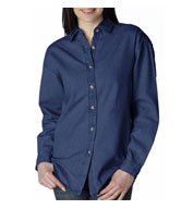 Ultraclub Womens' Long Sleeve Denim Shirt
