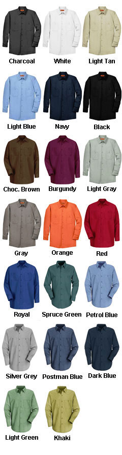 Mens Long Sleeve Industrial Red Kap Work Shirt - All Colors