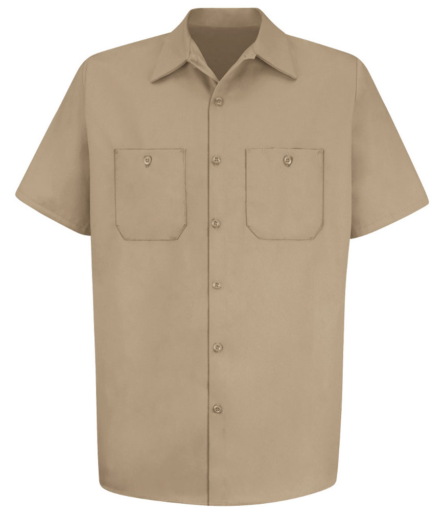 Mens 100% Cotton Short Sleeve Uniform Shirt