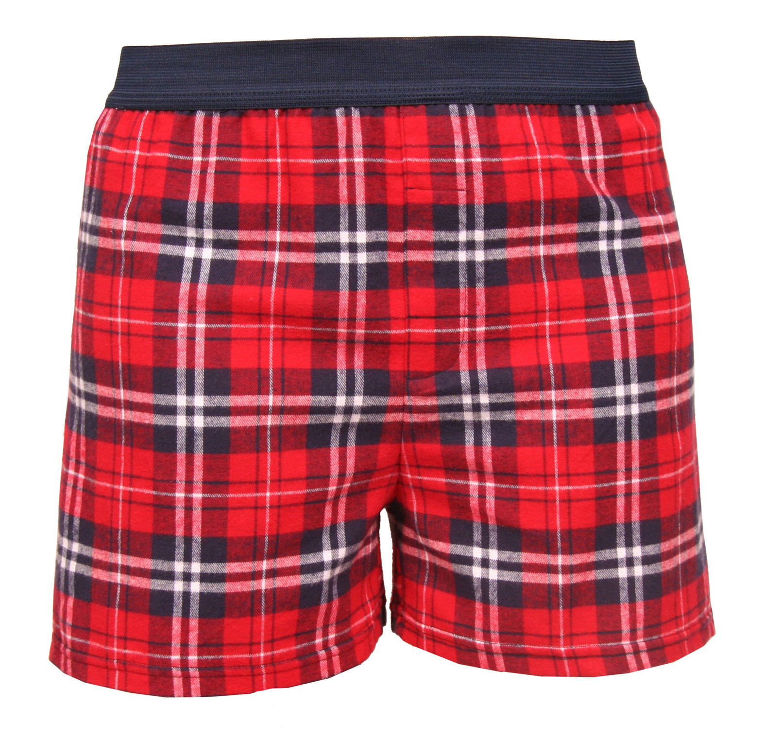 Adult Exposed Elastic Waistband Flannel Boxers