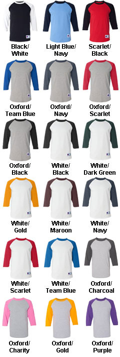 Champion 100% Cotton Raglan Sleeve - All Colors