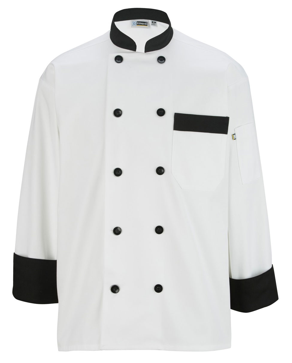Ten Black Button Chef Coat