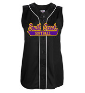 Womens Tag Up Full Button Sleeveless Softball Jersey