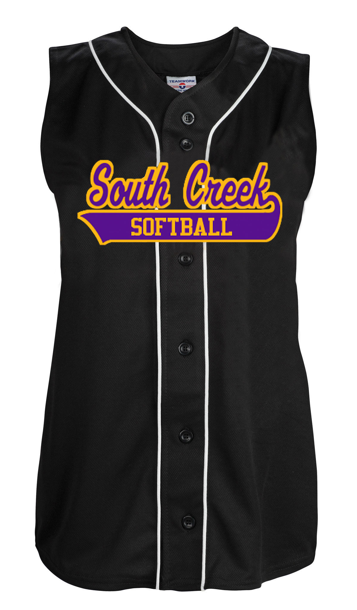 Girls Tag Up Full Button Sleeveless Softball Jersey