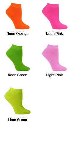 Fluorescent Neon Ankle Socks in 6 Neon Colors - All Colors