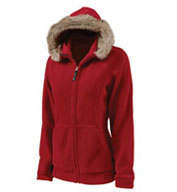 Custom Womens Faux Fur Trimmed Fleece Hoodie by Charles River Apparel