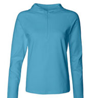 Custom Bella - Ladies Cotton/Spandex ½ Zip Hooded Pullover