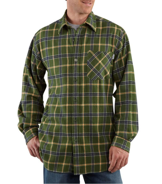 Mens Long Sleeve Flannel Plaid Shirt by Carhartt