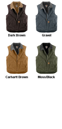 Carhartt Sandstone Mock-Neck Vest with Sherpa Lining - All Colors