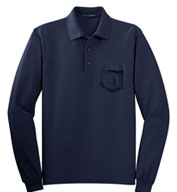 Custom Long Sleeve Silk Touch™ Polo with Pocket Mens