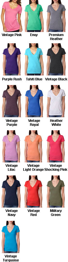 Next Level Ladies Tri-Blend Deep V-Neck T-Shirt - All Colors