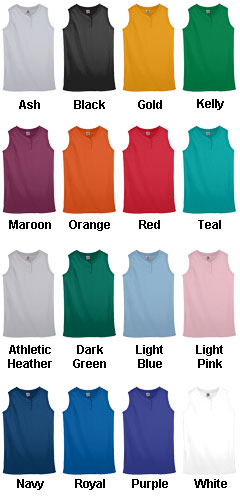 Girls Sleeveless Two-Button Softball Jersey - All Colors