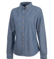 Custom Womens Button Down Collar Chambray Shirt by Charles River