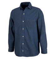 Mens Straight Collar Chambray Shirt by Charles River