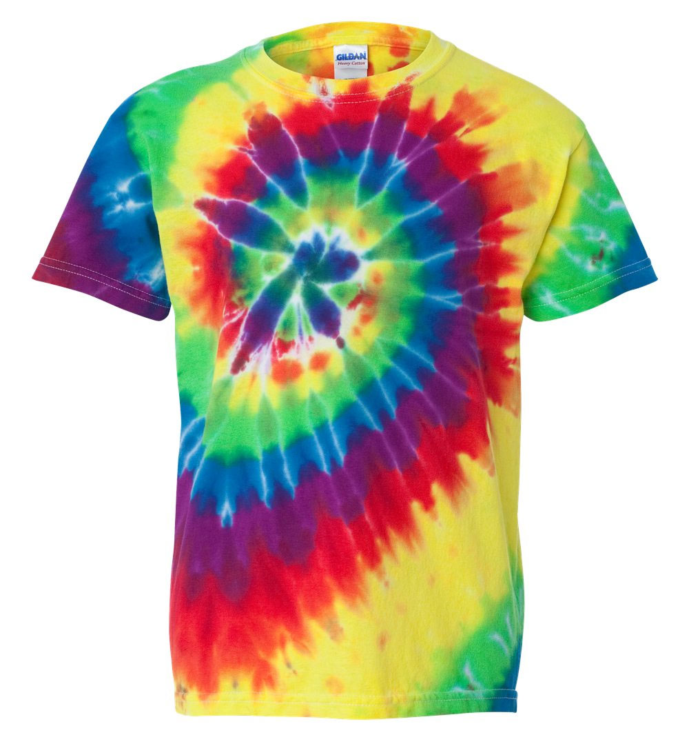Youth Tie-Dye Neon Pigment-Dyed Spiral Tee