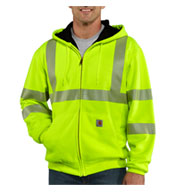 Custom Carhartt ANSI Class 3, High Visibility Zip-Front Thermal Lined Sweatshirt Mens