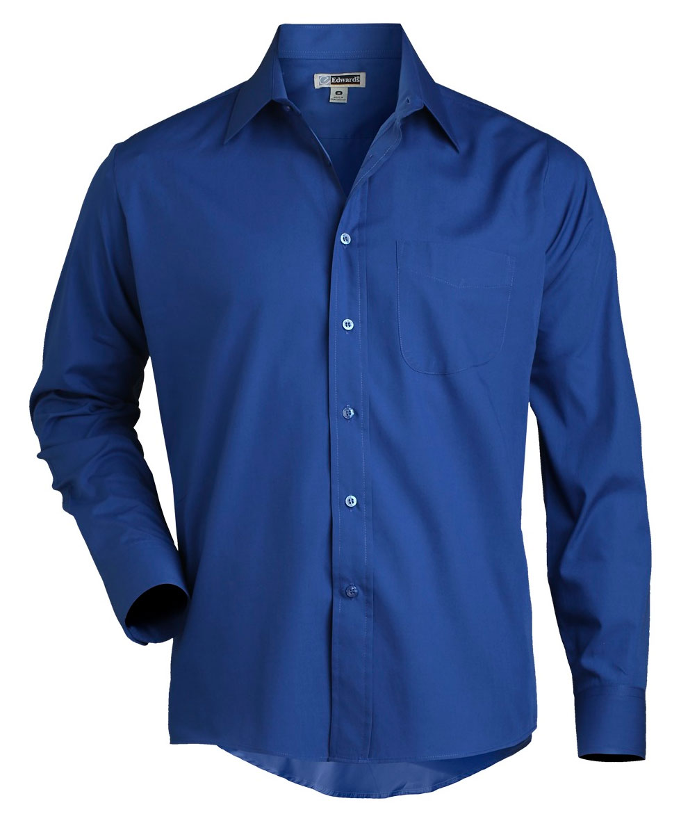Mens Long Sleeve Broadcloth Work Shirt