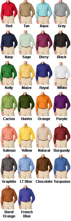 Mens Long Sleeve Stain Release Poplin - All Colors