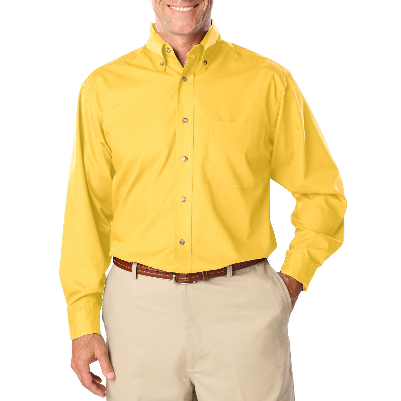 Mens Long Sleeve Stain Release Poplin