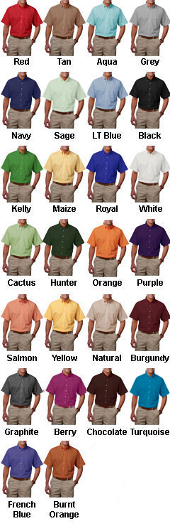 Mens Short Sleeve Stain Release Poplin - All Colors