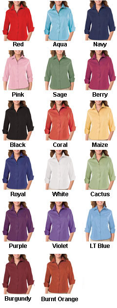 Ladies 3/4 Sleeve Easy Care Stretch Poplin Blouse - All Colors