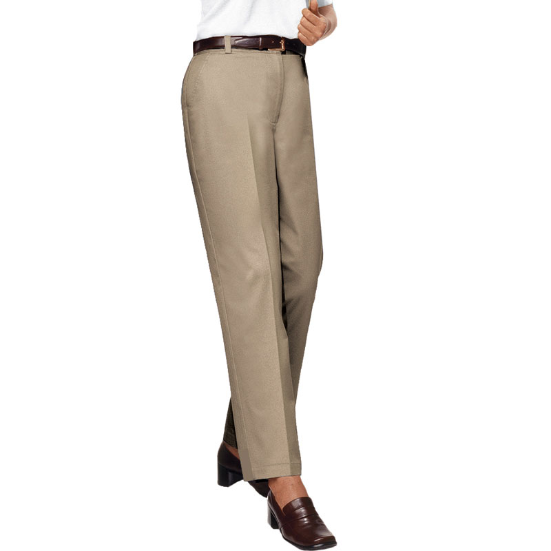 Ladies Teflon Treated Twill Flat Front Pants
