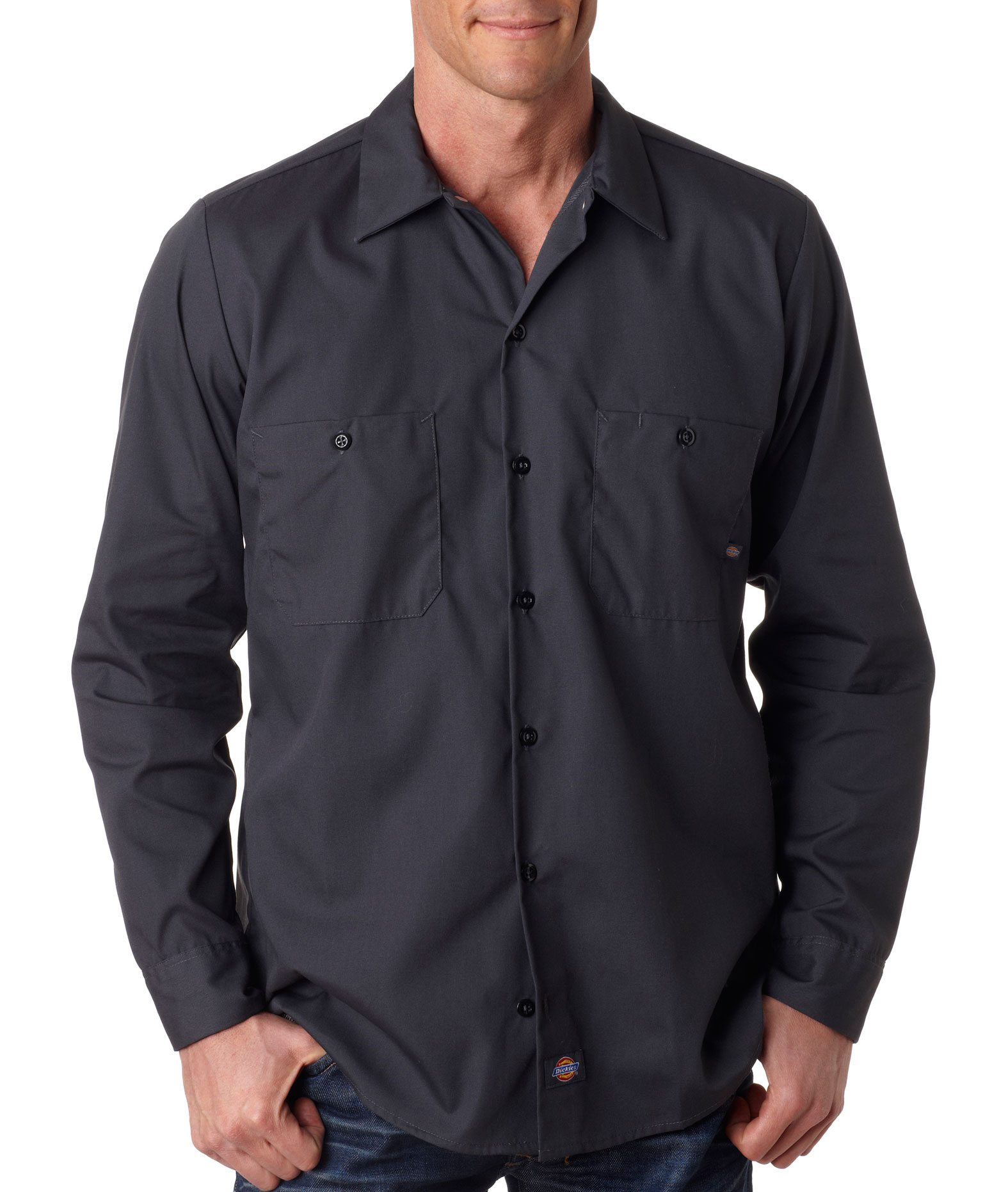 Dickies Mens Long-Sleeve Industrial Poplin Work Shirts