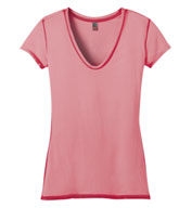 Custom Junior�s Faded Rounded Deep V-Neck Tee by District