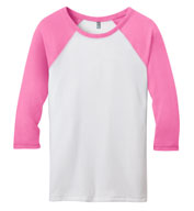 District Juniors 50/50 3/4 - Sleeve Raglan Tee