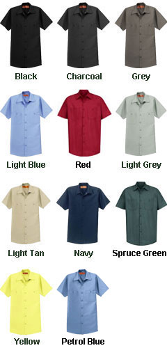 Mens Tall  Half Sleeve Industrial Red Kap Work Shirt - All Colors