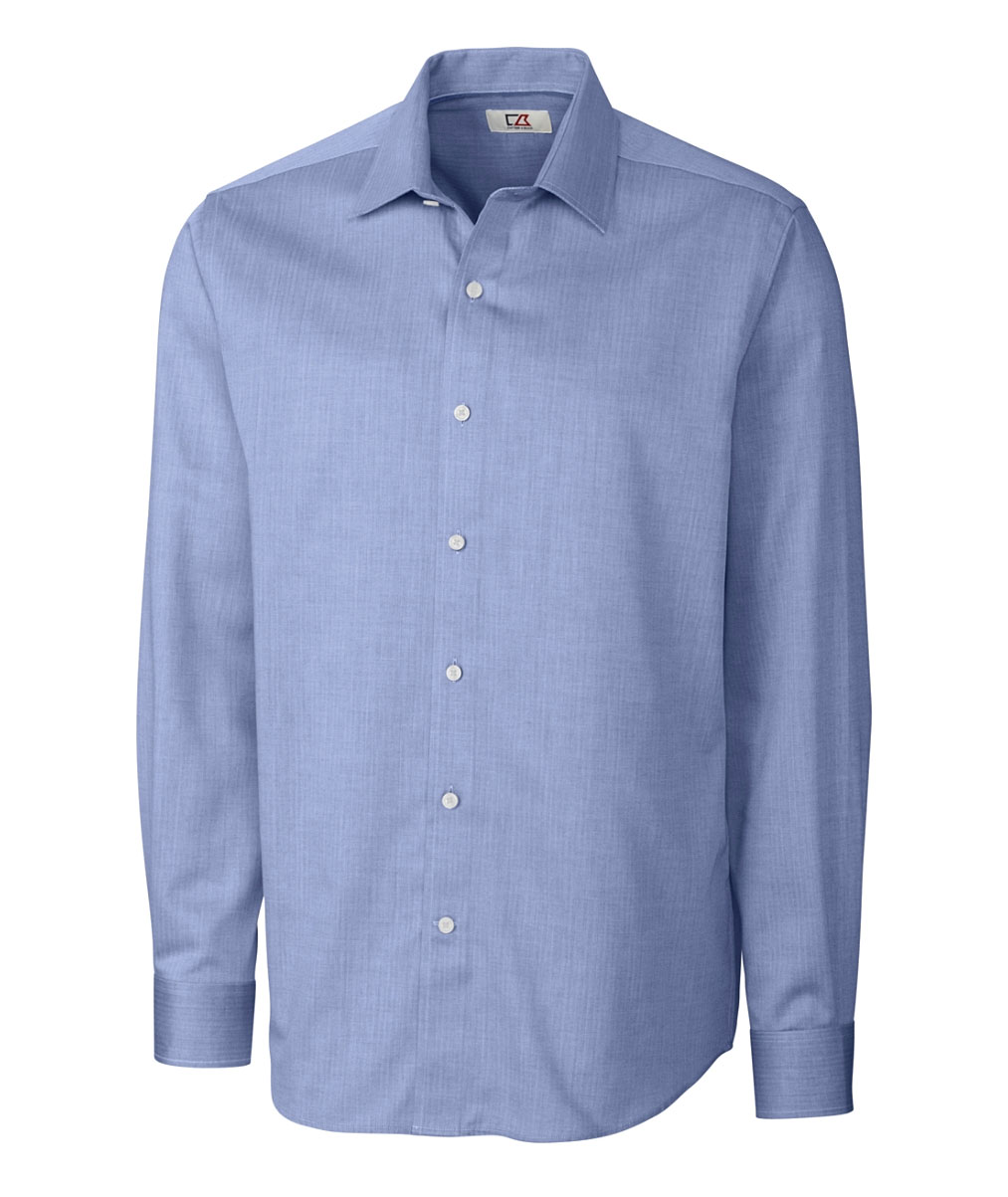 Mens Easy Care Mini Herringbone Dress Shirt