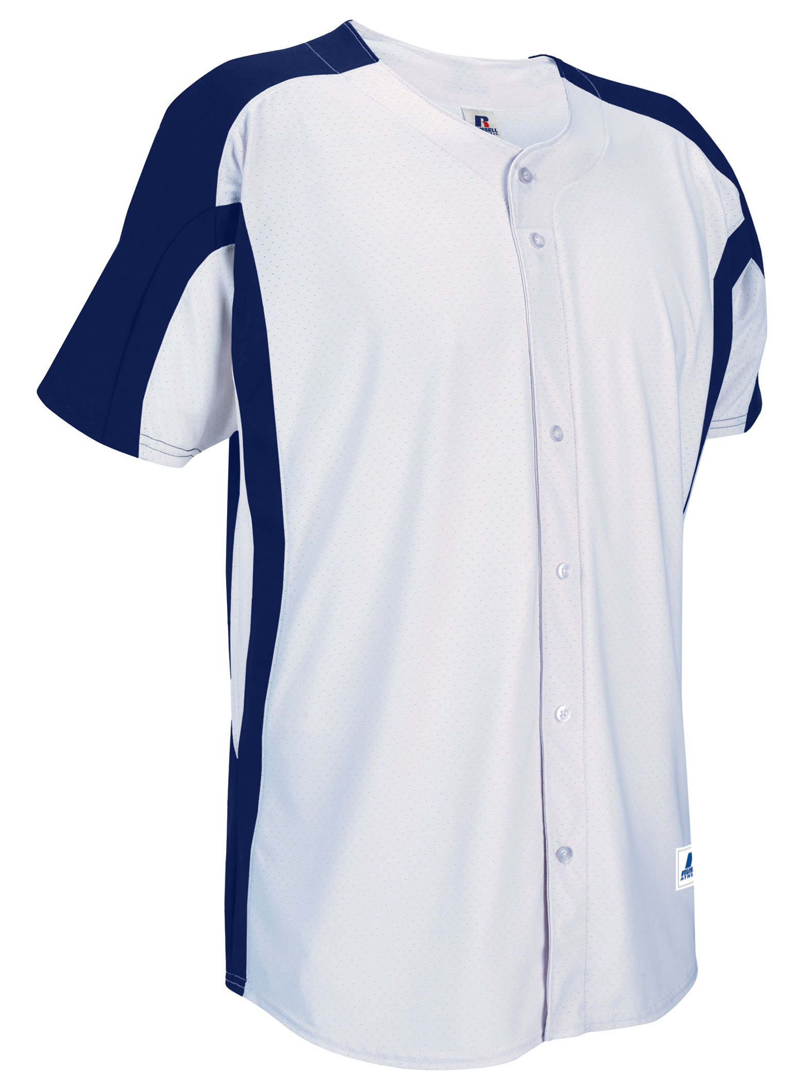 Russell Athletic Mens Faux Full Button Placket Game Jersey