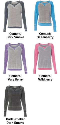 J. America Ladies Zen Fleece Raglan Sleeve Crewneck Sweatshirt - All Colors