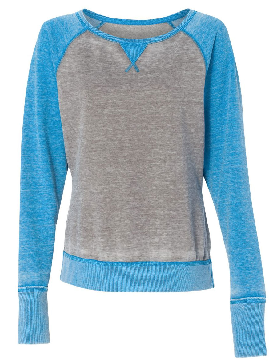 J. America Ladies Zen Fleece Raglan Sleeve Crewneck Sweatshirt