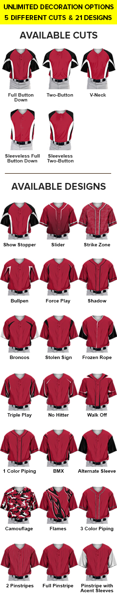 Sublimated Prosphere Baseball Jerseys - All Patterns