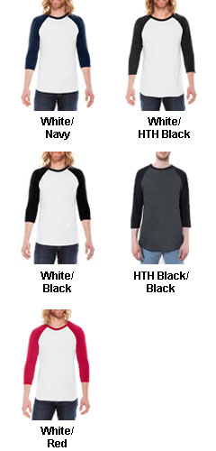 American Apparel 3/4 Sleeve Raglan T-Shirt - All Colors