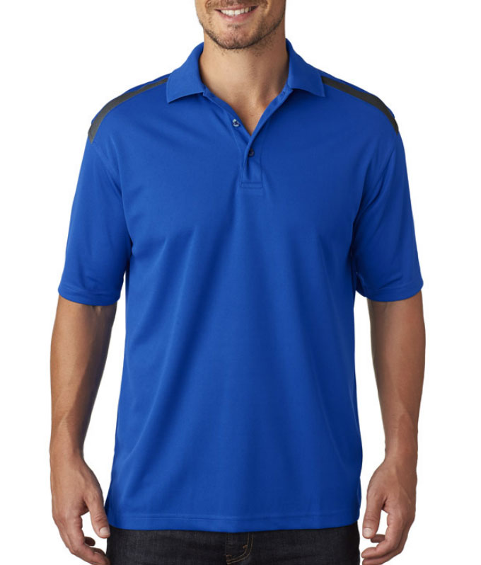 UltraClub Mens Cool & Dry 2 Tone Mesh Pique Polo