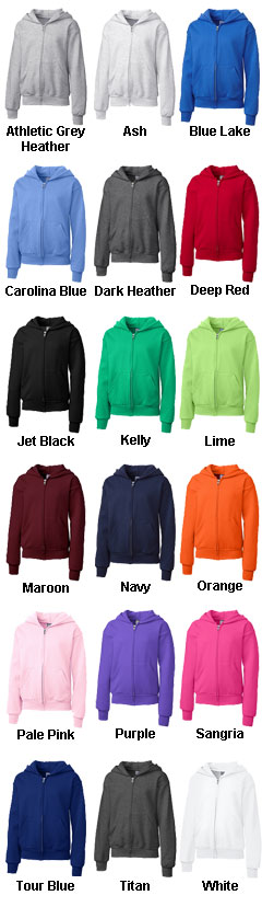 Basic Youth Fleece Full Zip Hoodie - All Colors