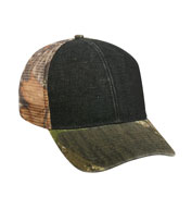 Denim Cap with Camo Mesh Back