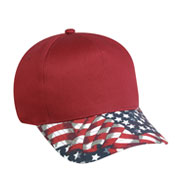 Custom 5 Panel American Flag Visor Cap