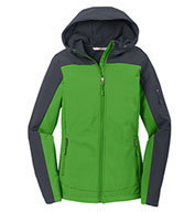 Custom Ladies Hooded Color Block Soft Shell Jacket