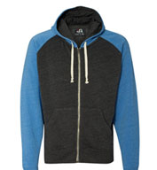 Custom J. America Tri-Blend Color Block Full-Zip Hooded Fleece Mens