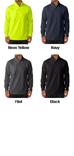 UltraClub® Adult Cool & Dry Box Jacquard 1/4-Zip Micro-Fleece - All Colors